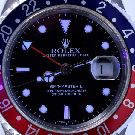 cadran-montre-de-collection-rolex-gmt-master-2-pepsi-vintage-occasion-2005-16710-mostra-store-aix-en-provence-france