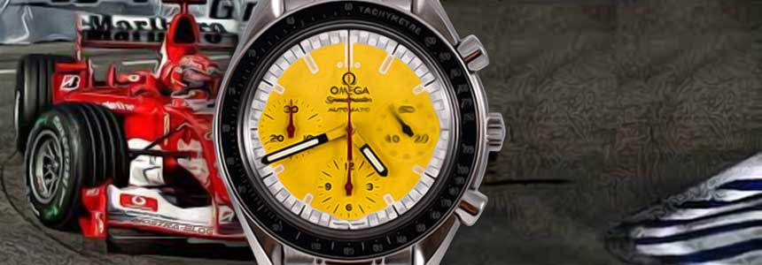 omega-speedmaster-reduced-limited-edition-scuderria-ferrari-michael-schumacher-acier-occasion-jaune-watch-1996-montre-de-luxe-occasion-collection-courses-chrono-mostra-store-montres-boutique-montres-omega-occasion-aix-formulaa-one-watch
