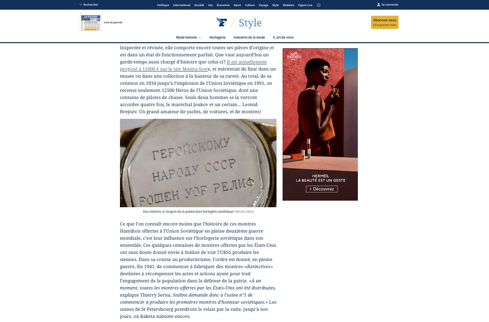 article-le-figaro-thierry-serna-hamilton-roshen-war-relief-fund-cccp-staline-military-watches-montres-militaires-mostra-store-aix
