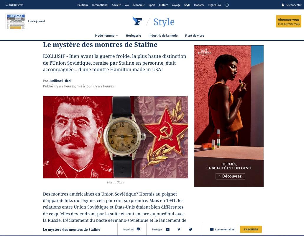 article-mostra-store-le-figaro-avril-2021-hamilton-roshen-war-relief-fund-cccp